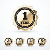Set of gold guarantee labels. Vector illustration. Eps 10 Royalty Free Stock Image