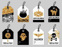 Set of Gold Halloween Gift Tags Stock Image