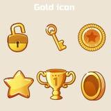 Set gold icon four game Royalty Free Stock Photo