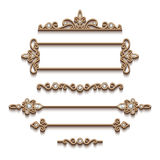 Set of gold jewelry design elements on white Stock Photos