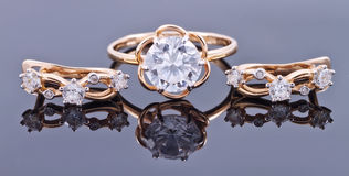Set of gold jewelry Stock Photography