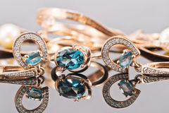 Set of gold jewelry with Topaz stones Royalty Free Stock Image