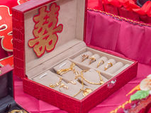 A Set of Gold Jewelry with Xuangxi Chinese Character Stock Image