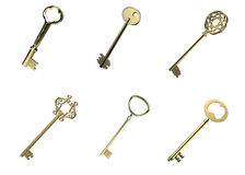 A set of gold keys Royalty Free Stock Photo