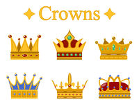Set of gold king crown or pope tiara.Vector illustration Stock Photography