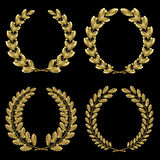 Set from  gold laurel and oak wreath Stock Photography