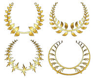 Set of gold laurel wreath on white background. Vector illustration Stock Photography