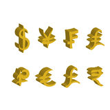 Set of gold main currency signs. Signs of dollar and yen, frank and lira, euro and pound with rupee. Vector illustration. Set of gold main currency signs. Signs Royalty Free Stock Images