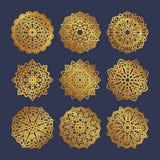 Set of gold mandalas. Indian wedding meditation. Stock Photo