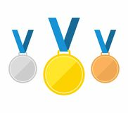 Set of gold medal, silver and bronze. Medals icons in flat style isolated on blue background. Medals Vector Stock Images