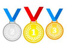 Set of gold medal, silver and bronze. Medals icons in flat style vector illustration