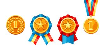 Set of gold medals with colored ribbon. Illustration of award for sports or corporate competitions Stock Images