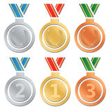 Set of gold medals, silver and bronze Stock Image