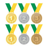 Set of gold medals, silver medals and bronze medals. Concept illustration for design. Royalty Free Stock Photography