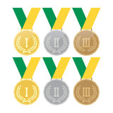 Set of gold medals, silver medals and bronze medals. Concept illustration for design. Stock Photo