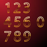 Set of gold metal  numbers, from 1 to 0. Eps 10  Stock Photo