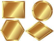 Set of gold metal plates 2. A set of gold metal plates on white background Stock Photos