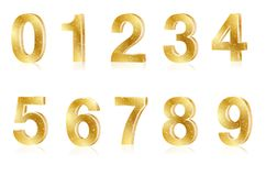 Set of gold metal shiny numbers. On white background - vector illustration stock illustration