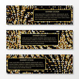 A set of gold mosaic patterned banners. Can be used for business, website, holidays and congratulations stock illustration
