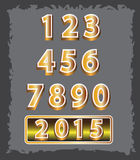 Set of gold number 2015 designs symbols Royalty Free Stock Photography