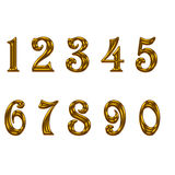 Set of gold number on white background Royalty Free Stock Photography