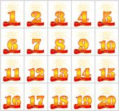 Set of gold numbers from 1 to 20 and the word of the year on the background of a red ribbon. Vector illustration. Set of gold numbers from 1 to 20 and the word vector illustration