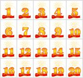 Set of gold numbers from 1 to 20 and the word of the year on the background of a red ribbon. Vector illustration. Translated from. The German - Years Royalty Free Stock Images