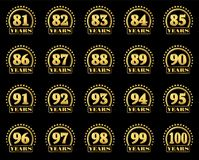 Set of gold numbers from 81 to 100 and the word of the year decorated with a circle of stars. Vector illustration. Set of gold numbers from 81 to 100 and the Stock Photography