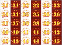 Set of gold numbers from 31 to 45 and the word of the year decorated with a circle of stars. Vector illustration. Translated from. Russian - Years Stock Image