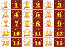 Set of gold numbers from 1 to 15 and the word of the year. Decorated with a circle of stars. Vector illustration. Translated from Spanish - Years Royalty Free Stock Photos