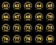 Set of gold numbers from 61 to 80 and the word of the year decorated with a circle of stars. Vector illustration. Translated from. Spanish - Years royalty free illustration