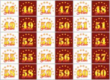 Set of gold numbers from 46 to 60 and the word of the year. Set of gold numbers from 46 to 60 and the word of the year decorated with a circle of stars. Vector Royalty Free Stock Photos