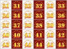 Set of gold numbers from 31 to 45 and the word of the year. Set of gold numbers from 31 to 45 and the word of the year decorated with a circle of stars. Vector Royalty Free Stock Images