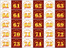 Set of gold numbers from 61 to 75 and the word of the year   Royalty Free Stock Photo
