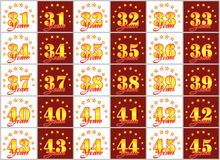 Set of gold numbers from 31 to 45 and the word of the year. Decorated with a circle of stars. Vector illustration Stock Images