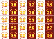 Set of gold numbers from 16 to 30 and the word of the year Royalty Free Stock Photography