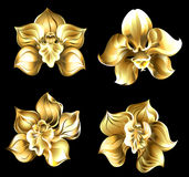 Set of gold orchids. Set of art, jewelry, gold orchids on a black background Stock Images