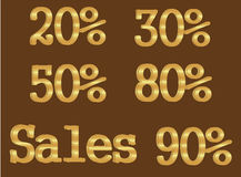 Gold Percent Tags Royalty Free Stock Image