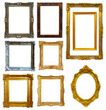 Set of  gold picture frame Stock Photos