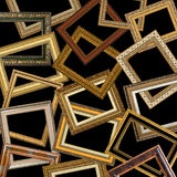 Set of gold picture frames stock photo