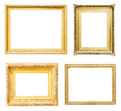 Set of gold picture frames. Isolated over white Royalty Free Stock Images