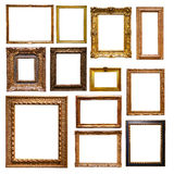 Set of gold picture  frames Royalty Free Stock Image