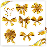 Set of gold polka dot gift bows with ribbons Royalty Free Stock Photography