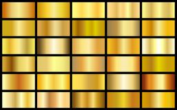 Set of gold realistic metal texture seamless gradient square vector backgrounds.