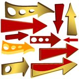 Set Of Gold And Red Arrow Icons Stock Photography