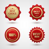 Set of Gold red best choice badge Stock Photo