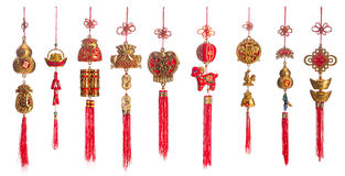 Set of gold and red Chinese new year decoration isolated on whit Stock Photography