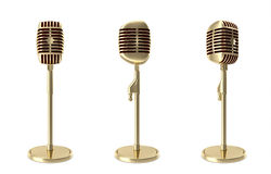 Set gold retro microphone isolated on white backgorund. 3d illustration Stock Image