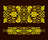 Set gold ribbon plant pattern in ethnic national style of Uzbekistan, Asia. Vector illustration. Royalty Free Stock Photo