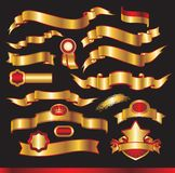 Set of gold ribbons Royalty Free Stock Photos